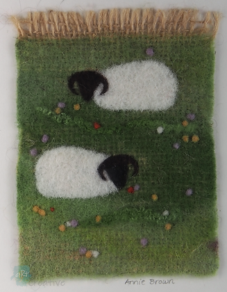 Two Sheep in Meadow - Annie Brown (mounted)