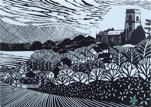 Rectangular Art Card: 'Kersey' Linocut - by Helen Maxfield