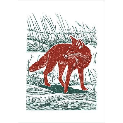 Rectangular Art Card: Fox in Field by James Green