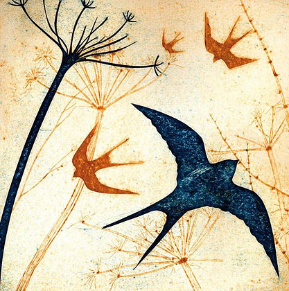Square Art Card: Swallows by Kerry Buck