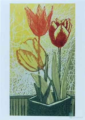 Art Card: 'Tulips'  Linocut - by Helen Maxfield