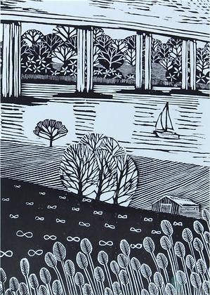 Art Card: ' Sailing Under Orwell Bridge'  Linocut - by Helen MaxfieldRe