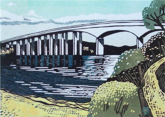 Rectangular Art Card: ' Orwell Bridge'  Linocut - by Helen Maxfield
