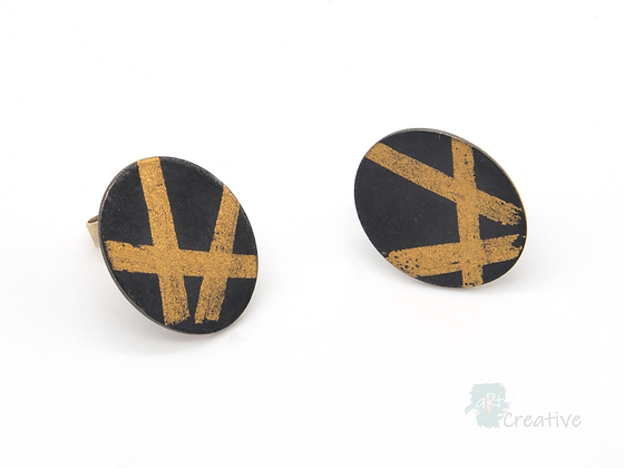 Oval, Oxidised Silver Earrings with 23ct Gold Keum Boo Design.