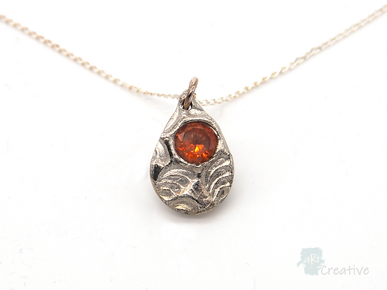 Necklace: Fine Silver 'Textured Tear Drop' - Toni Peers