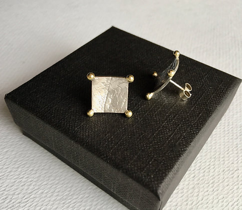 Square Textured Sterling Silver Earrings with 18ct Gold