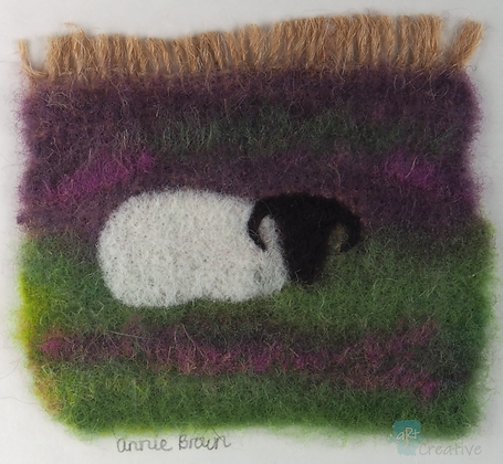 Sheep in Heather - Annie Brown (mounted)