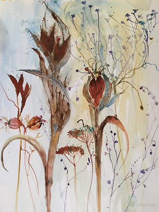 Iris Seedheads and Grasses - Helen Clarke (mounted)