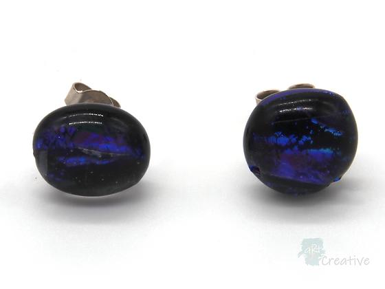 Dichroic Glass Round Stud Earrings Purple Blue Glitter- Louise Ferrier