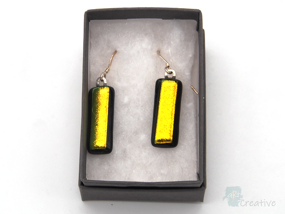 Dichroic Glass Drop Earrings Black & Gold - Louise Ferrier