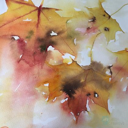 Drifting Leaves - Helen Clarke (mounted)