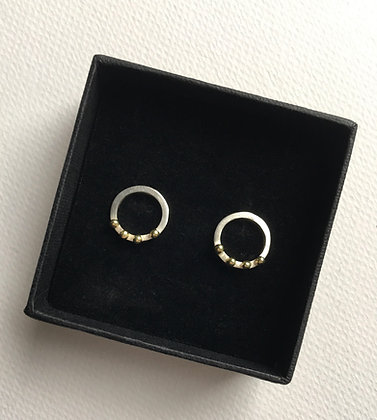 Sterling Silver Circle Earrings with 18ct gold dots.