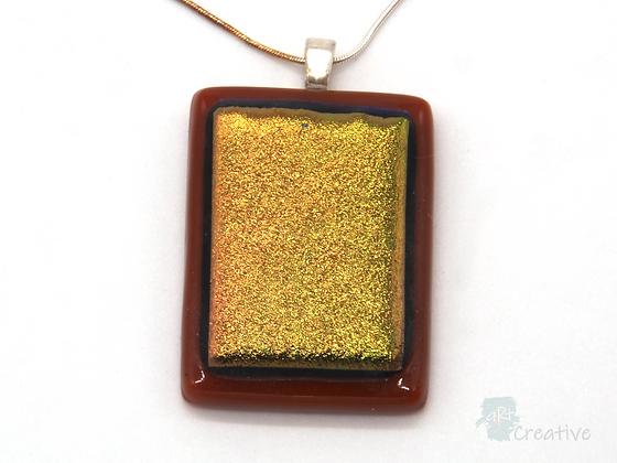 Dichroic Glass Pendant Dark Tan, Black & Gold  - Louise Ferrier