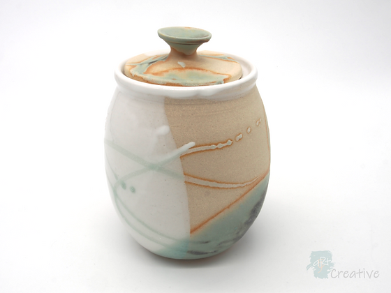 Tall Canister with Lid  'Shoreline ' - Sue Bowerman