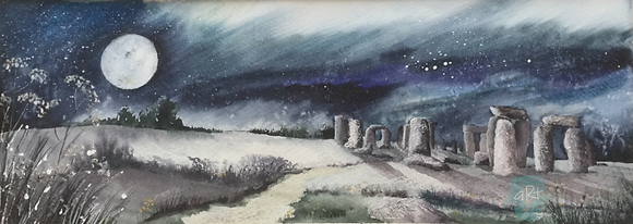 Henge in the Moonlight- Caroline Furlong (framed)