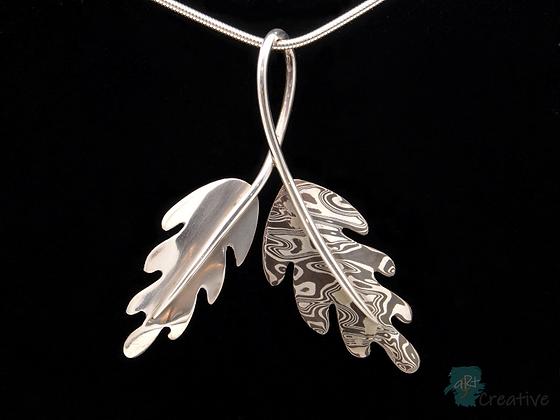 Double Oak Leaf Silver Pendant - Helen Smith