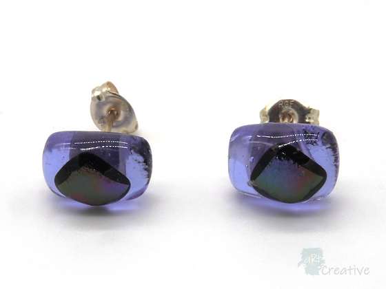 Dichroic Glass Stud Earrings Lilac & Silver - Louise Ferrier