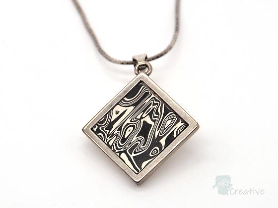 Silver Pendant Square Diamond - Helen Smith