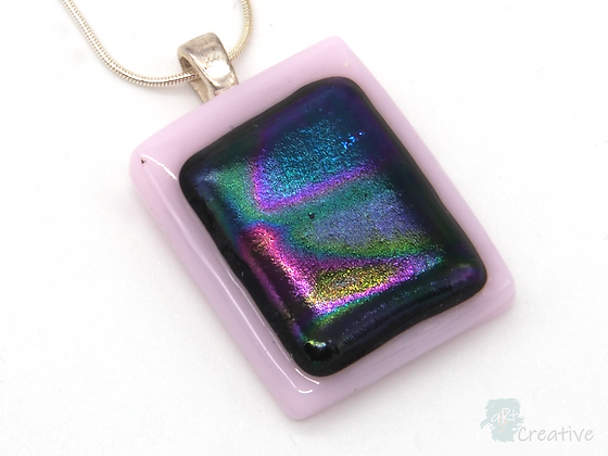 Dichroic Glass Pendant Purple & Pink Multi  - Louise Ferrier