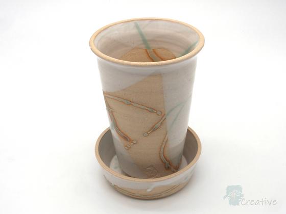 Plant Pot with Dish 'Shoreline ' - Sue Bowerman