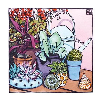 Square Art Card: Pot Corner by Amie Haslen