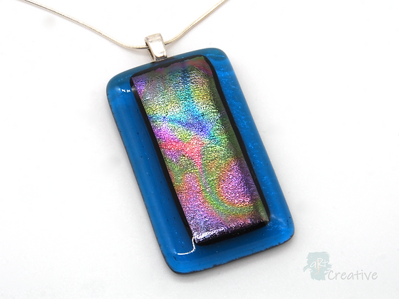Dichroic Glass Pendant Turquoise & Multi - Louise Ferrier