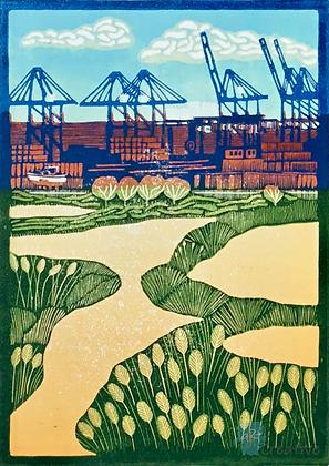 Felixstowe Docks - Helen Maxfield (mounted)