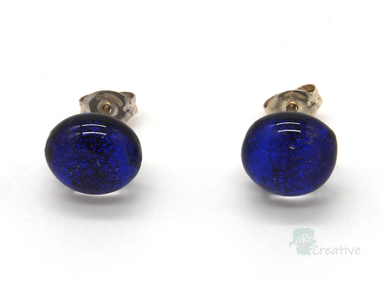 Dichroic Glass Round Stud Earrings 'Blue Sparkle'- Louise Ferrier