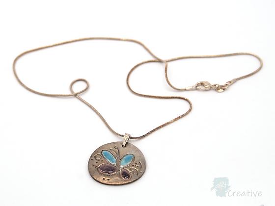 Necklace: Fine Silver 'Enamelled Butterfly' - Toni Peers