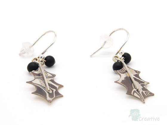 Silver Holly Leaf Dangly Earrings- Helen Smith