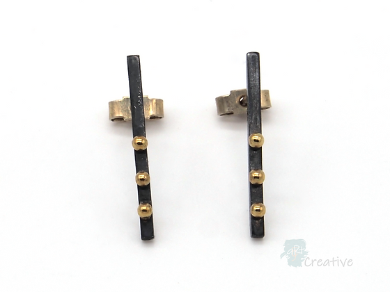 Oxidised Silver Stud Bar Earrings with 18 Carat Gold Dots - Lorraine Allan