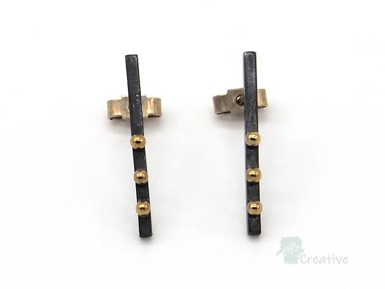 Oxidised Silver Stud Bar Earrings with 18Carat Gold Dots - Lorraine Allan
