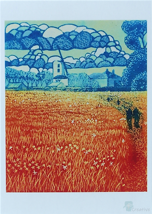 Art Card: 'Saxtead Mill'  Linocut - by Helen Maxfield