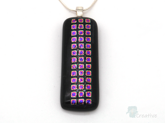 Dichroic Glass Pendant Dark , Pink & Silver - Louise Ferrier