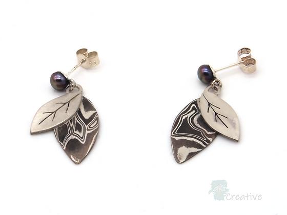 Double Leaf Dangly Stud Earrings - Helen Smith