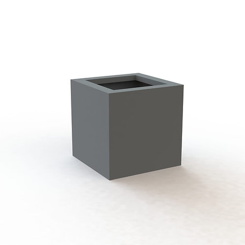 Fiber Glass Soft Gray 40 cm Square smooth pot