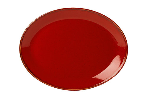 Seasons Red Oval Plate 18cm