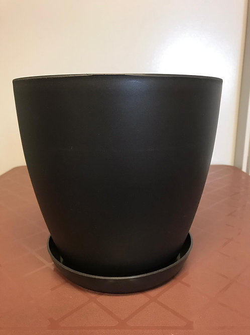 Begonia Round Charcoal pot and saucer 25cm