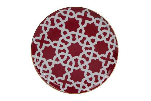 Morocco Burgundy Flat Plate 20cm