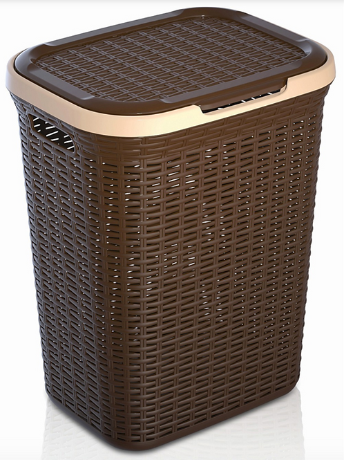 Rattan Laundry Basket Large Brown and Beige