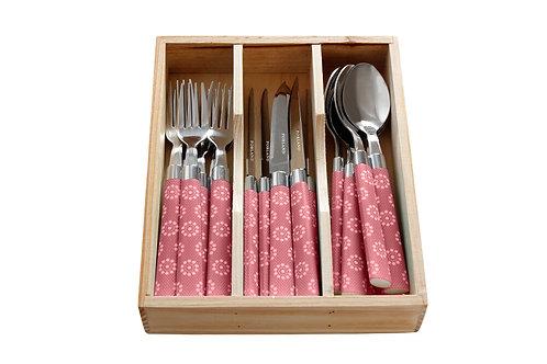 Trendy Pink Flower Dessert Cutlery Set 18 pcs.