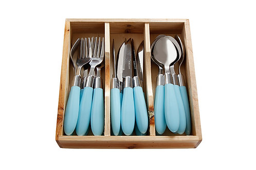 Trendy Blue Dessert Cutlery Set 18 pcs.