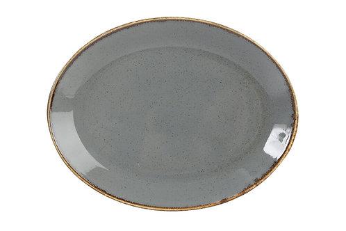 Seasons Dark Grey Oval Plate 24cm