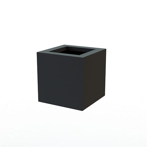 Fiber Glass Charcoal 20 cm Square smooth pot