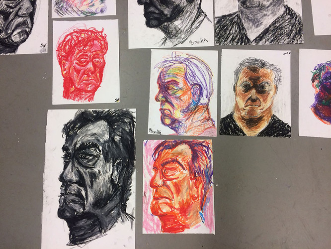 2 Drawing a portrait with oil pastel