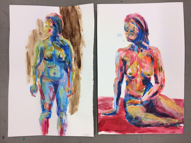 2 Finger painting a model in acrylic, sm