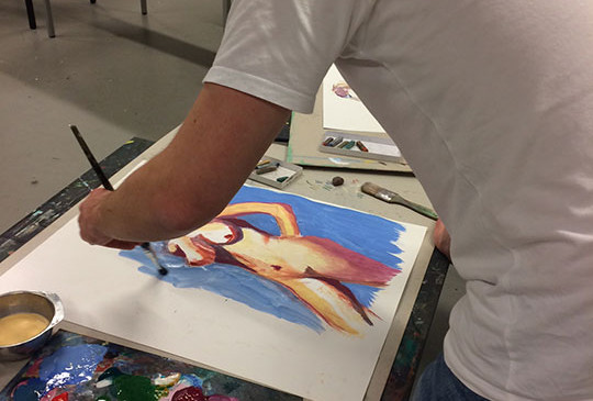 Model-painting-with-guoache-and-pastel-(