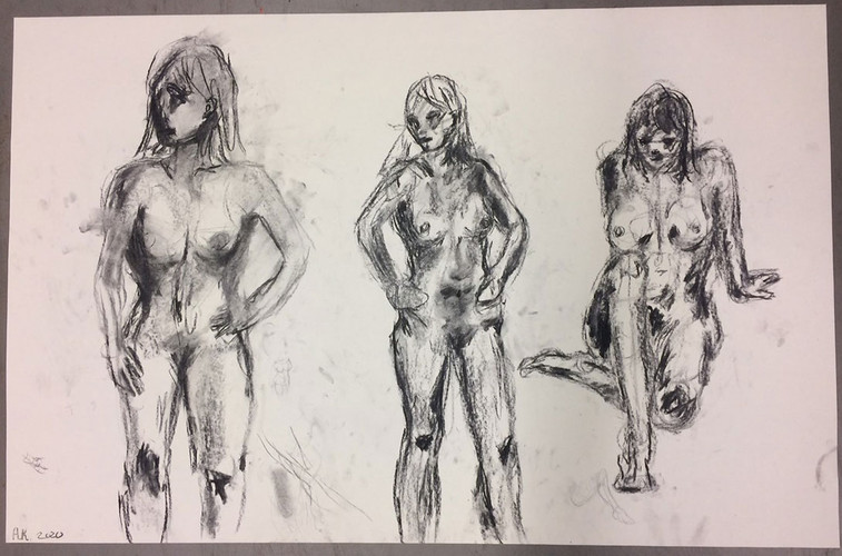 Exercise model with charcoal, line and s