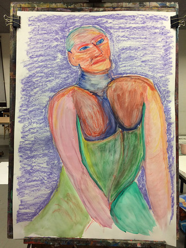 Mixed media model drawing in pastel and