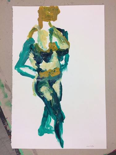 1 Model painting with acrylic and finger